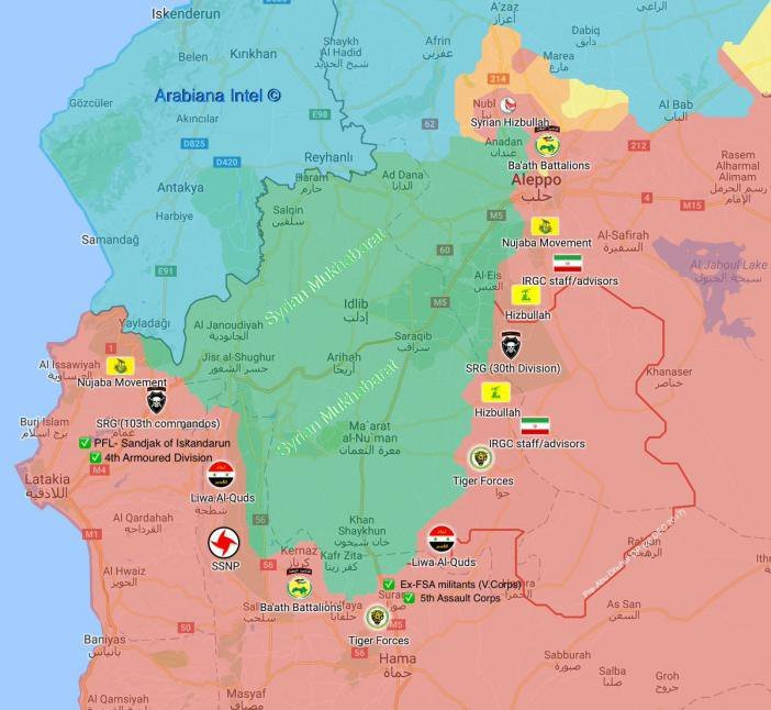 Rozmístění sil syrské armády a spojenců k útoku na provincii Idlíb