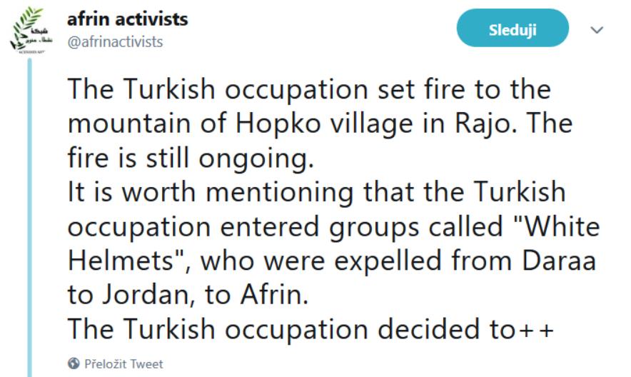Další informace o Bílých Helmách od Kurdů z Afrinu