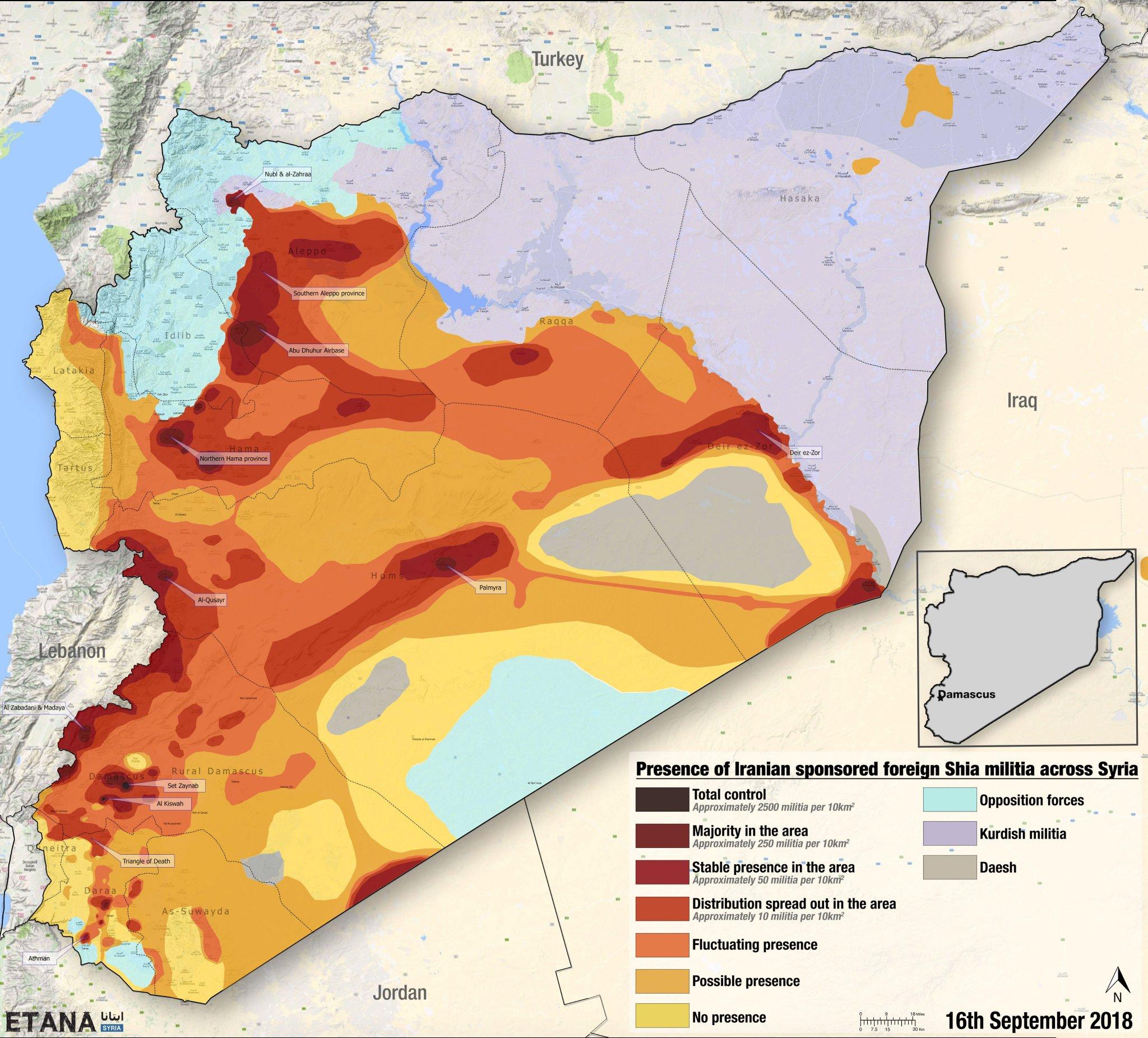 Mapa přítomnosti Íránem podporovaných šíitských milicí v Sýrii