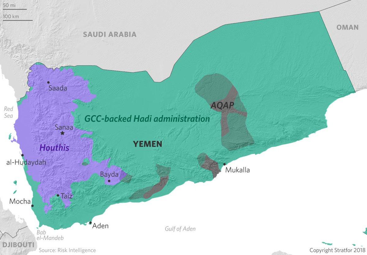 Komplexní mapa politické situace v Jemenu
