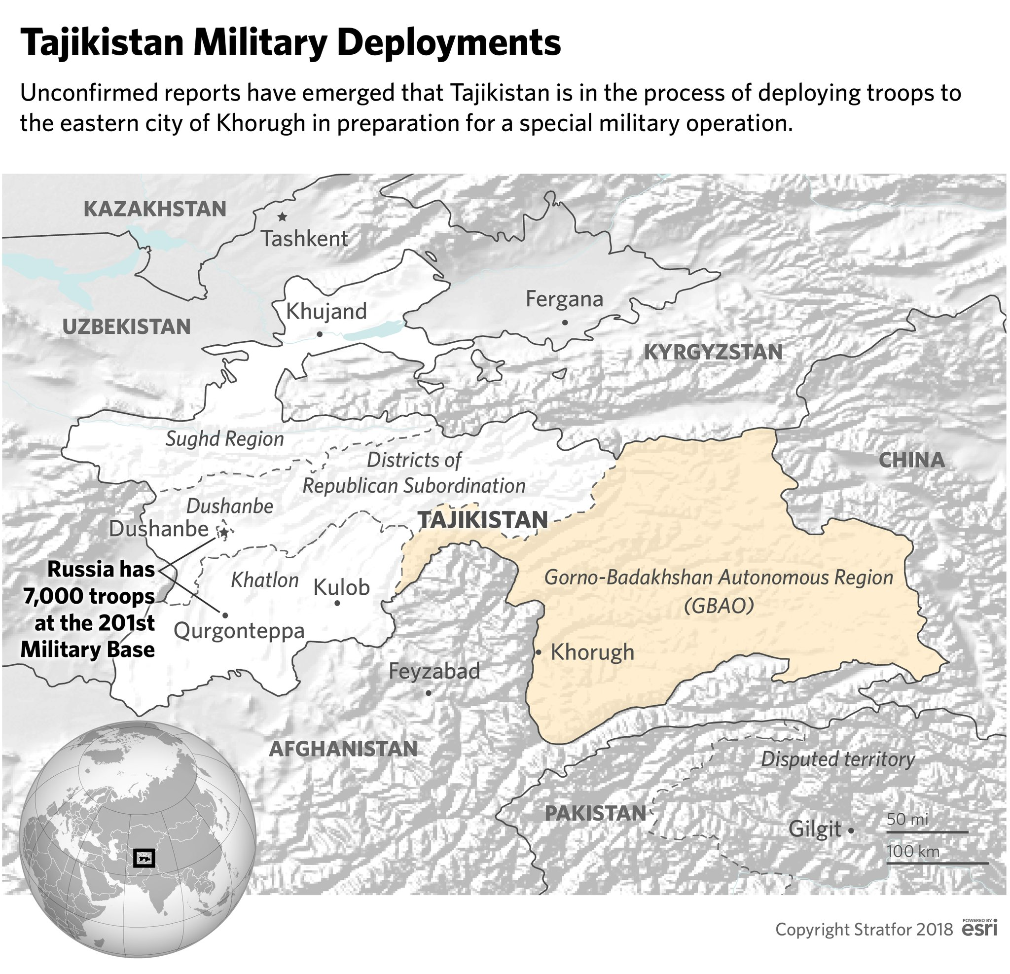 Masivní kumulace vojsk v jižním Tadžikistánu naznačuje možnost větší vojenské operace
