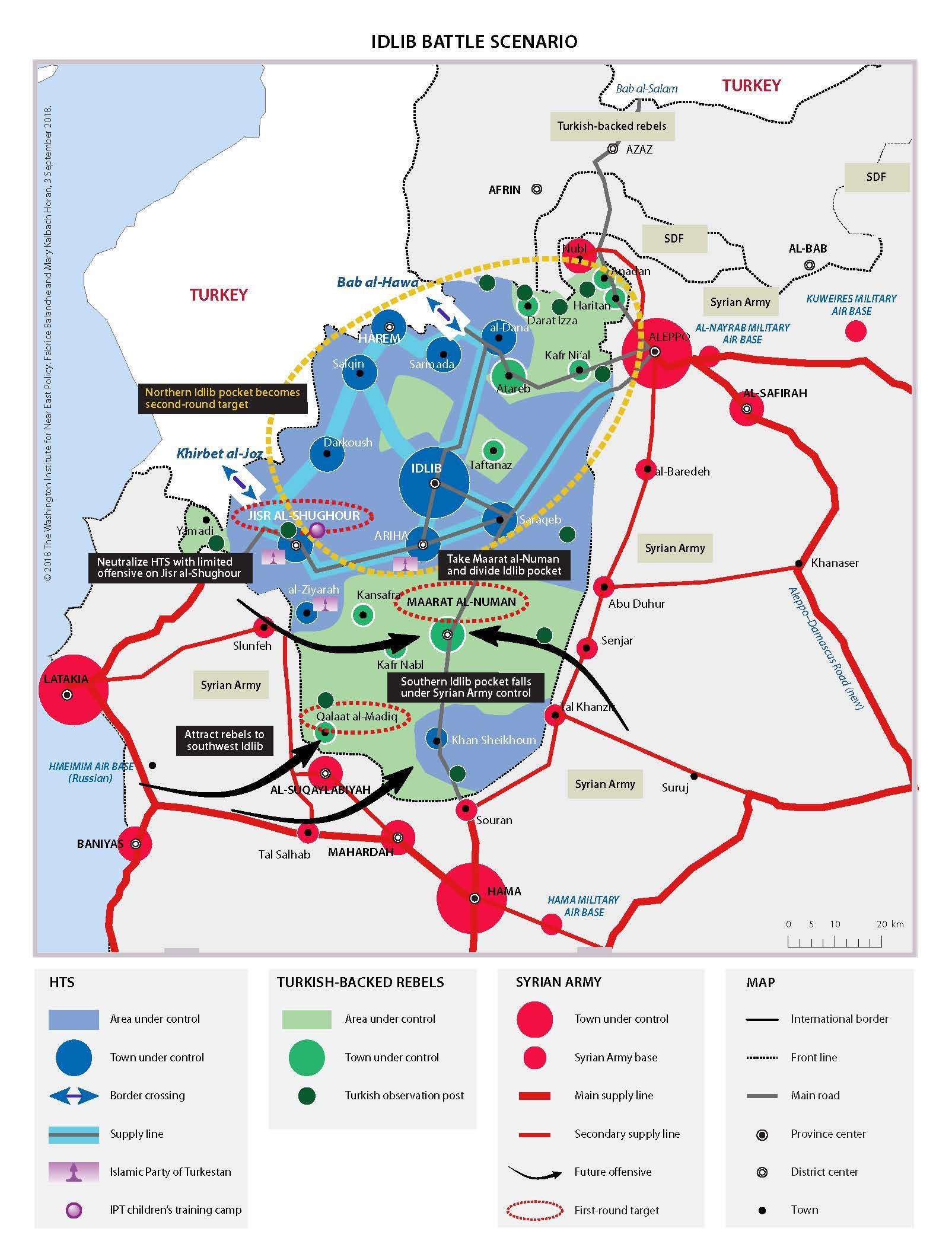 Potencionální bitevní plán k obsazení syrské provincie Idlíb