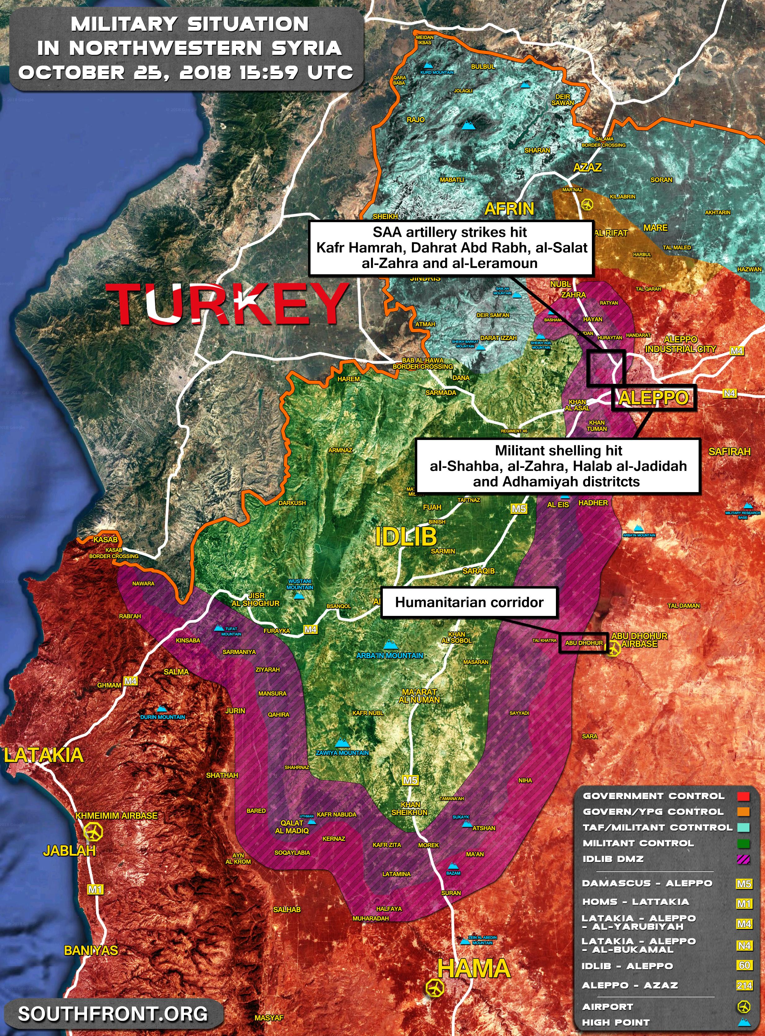 Mapa vojenské situace v severozápadní Sýrii