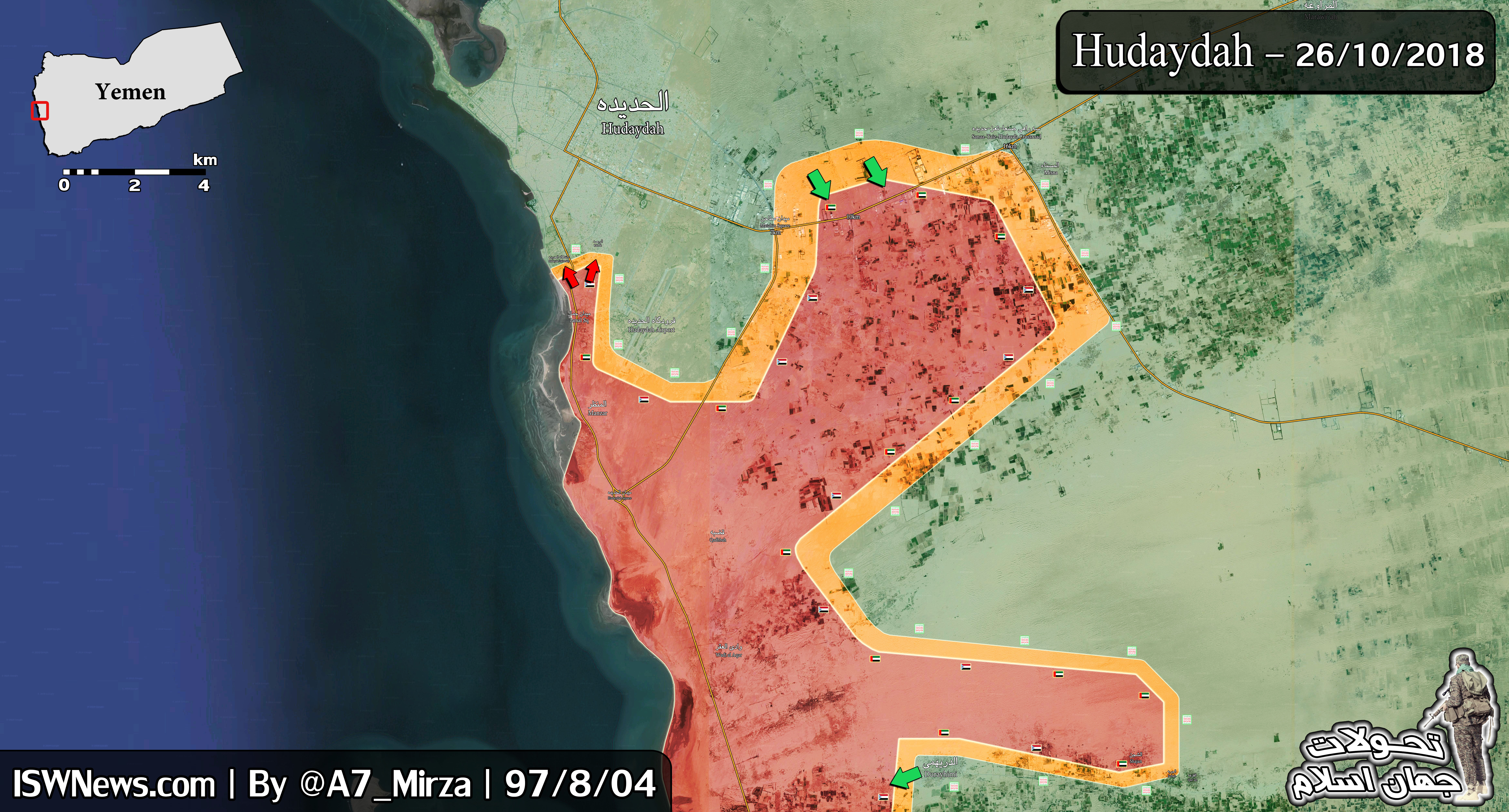 Vojenská situace v oblasti jemenského přístavu Hodajda