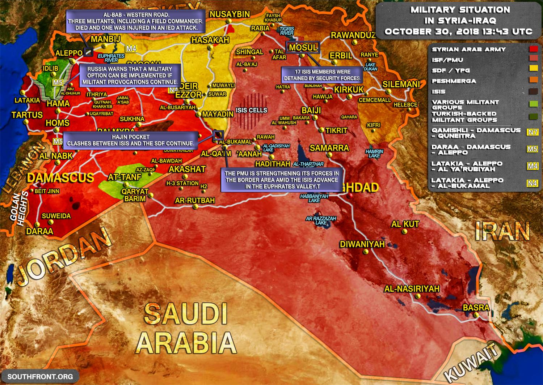 Vojenská situace v Sýrii a Iráku k 30.10.2018