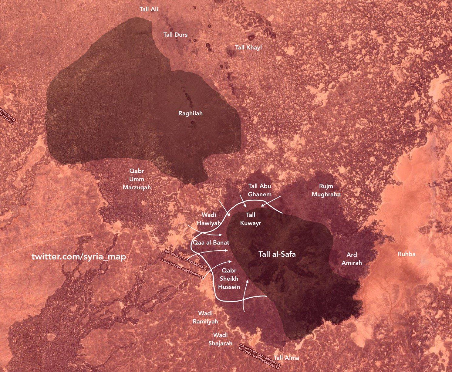 Aktuální vojenská situace ve vulkanické oblasti Al-Safa na jihu Sýrie