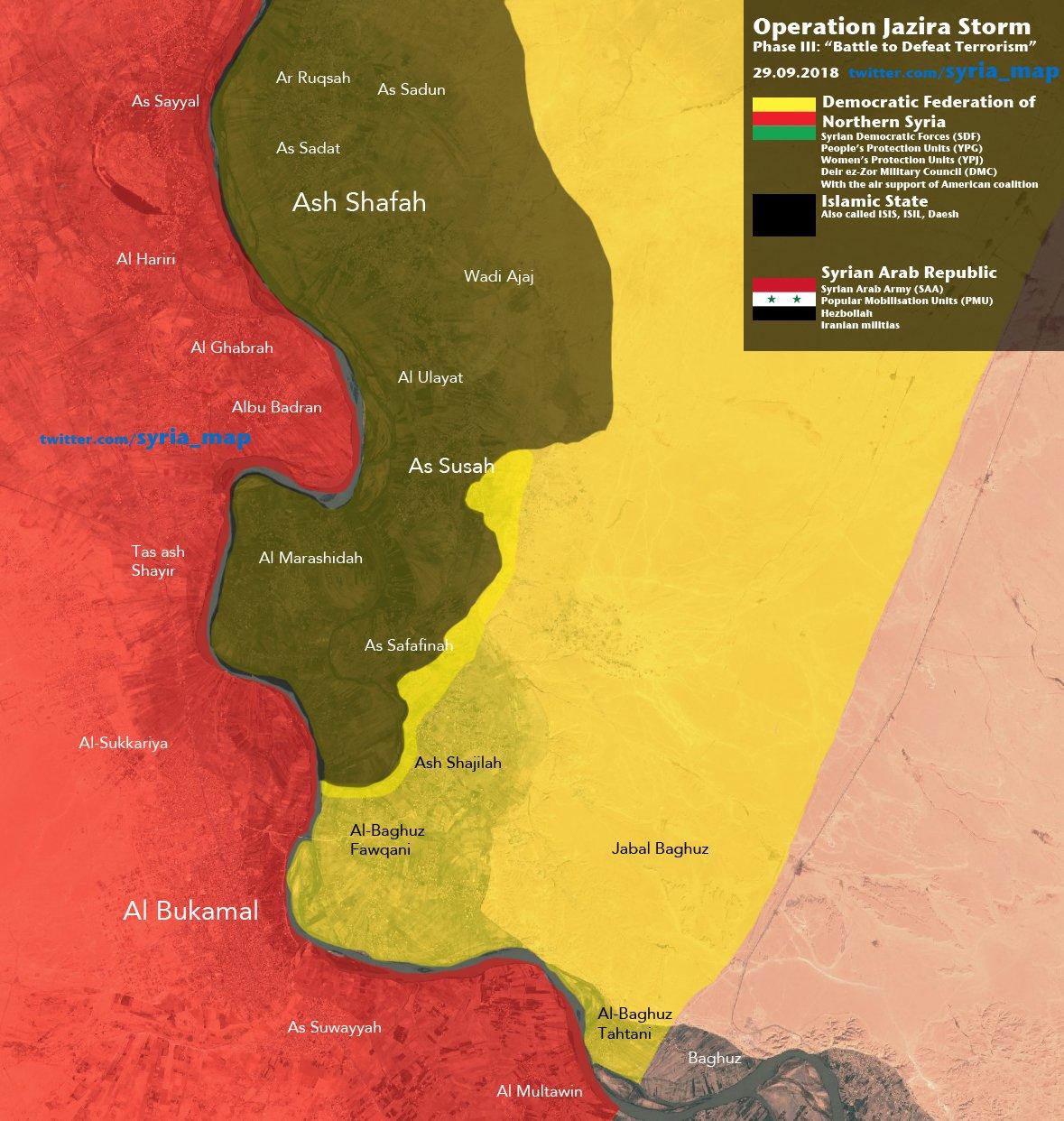 Aktuální vojenská situace v oblasti operace Jazira Storm – jihovýchod Sýrie