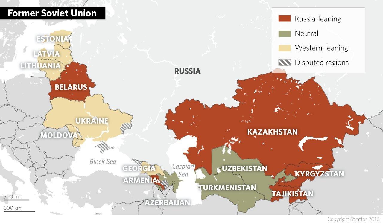 Aktuální mapka rozložení vztahů k Rusku v zemích bývalého SSSR