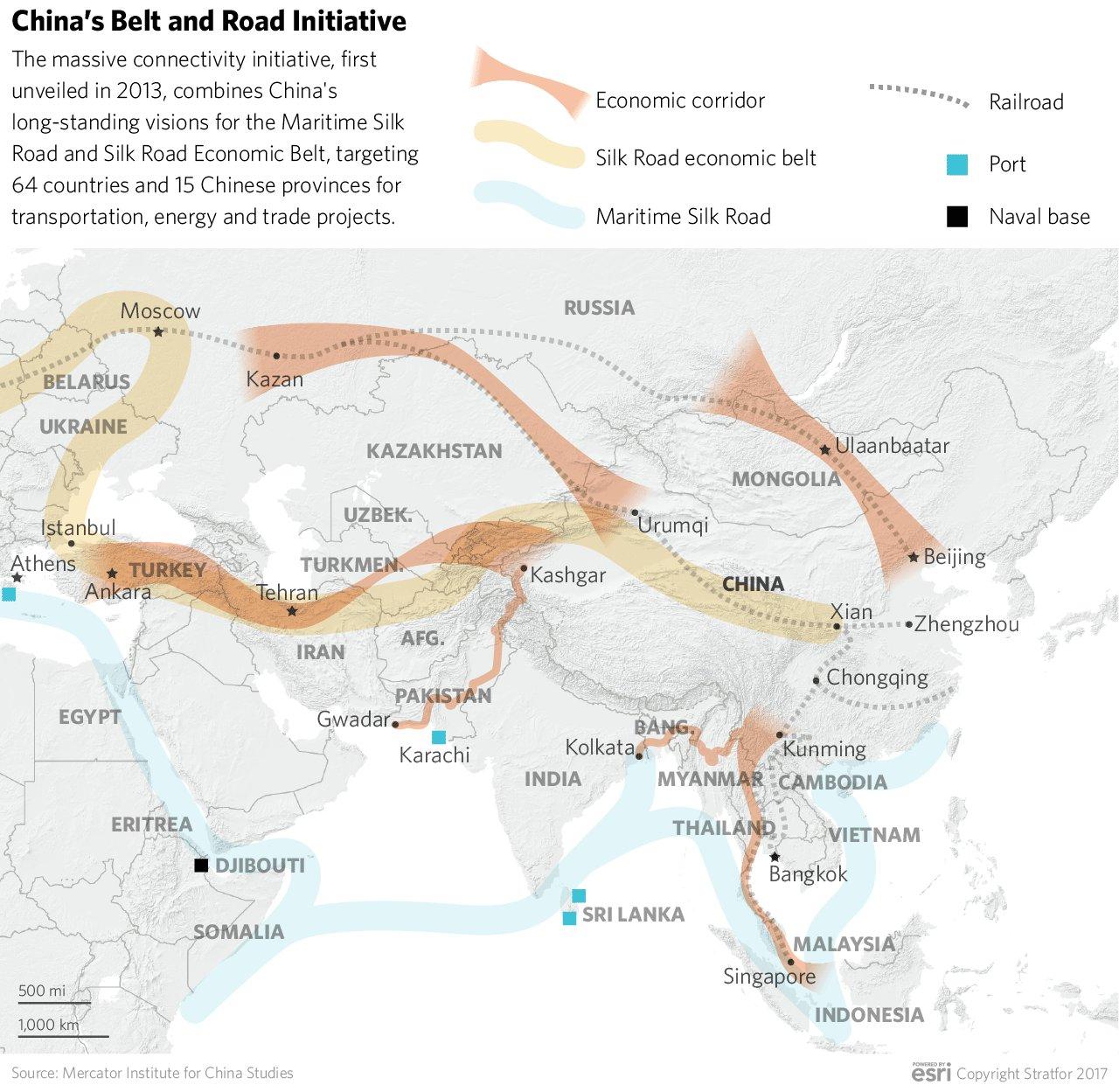"""Mapka čínské strategie ekonomického """"napojení"""" země na světovou ekonomiku."""
