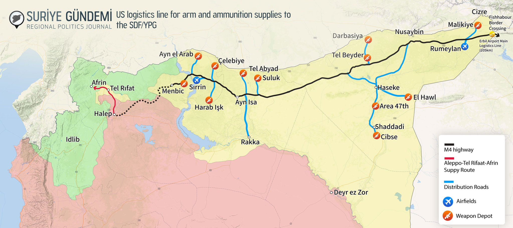 Mapa zásobovacích cest US podpory SDF/YPG