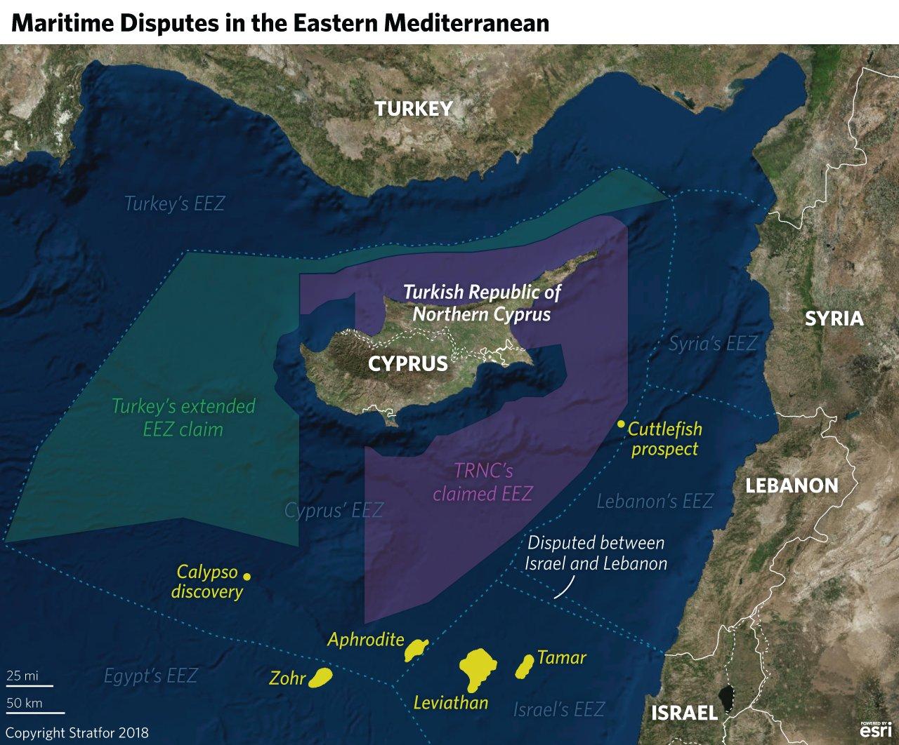 Nároky jednotlivých zemí v středomořské oblasti Kypru
