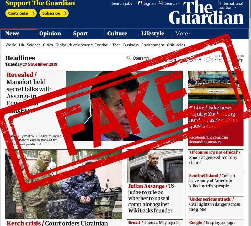 Článek Guardianu o schůzkách šéfa Wikileaks s vězněným Manafortem je pravděpodobně Fake News