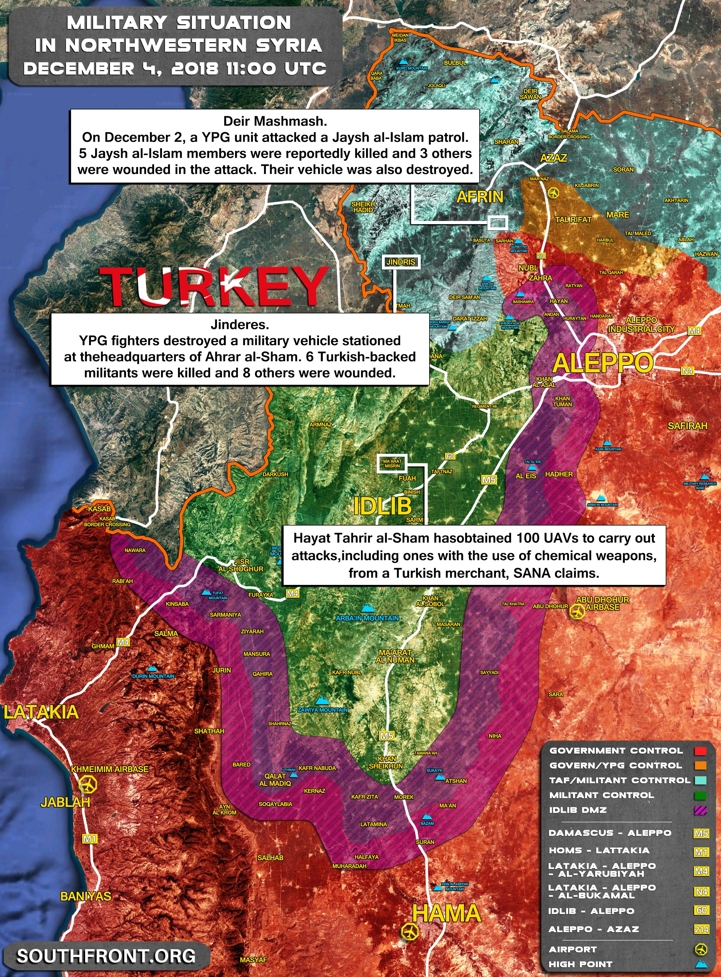 Mapa vojenské situace v severozápadní Sýrii – Idlíb