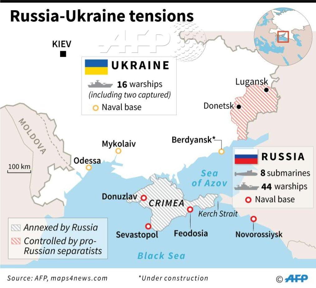 Mapa: rusko-ukrajinské napětí – rozložení sil v okolí Krymu