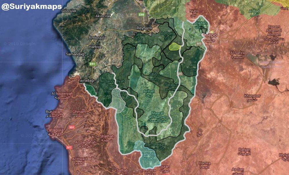 Mapa: vojenská situace v syrské provincii Idlíb