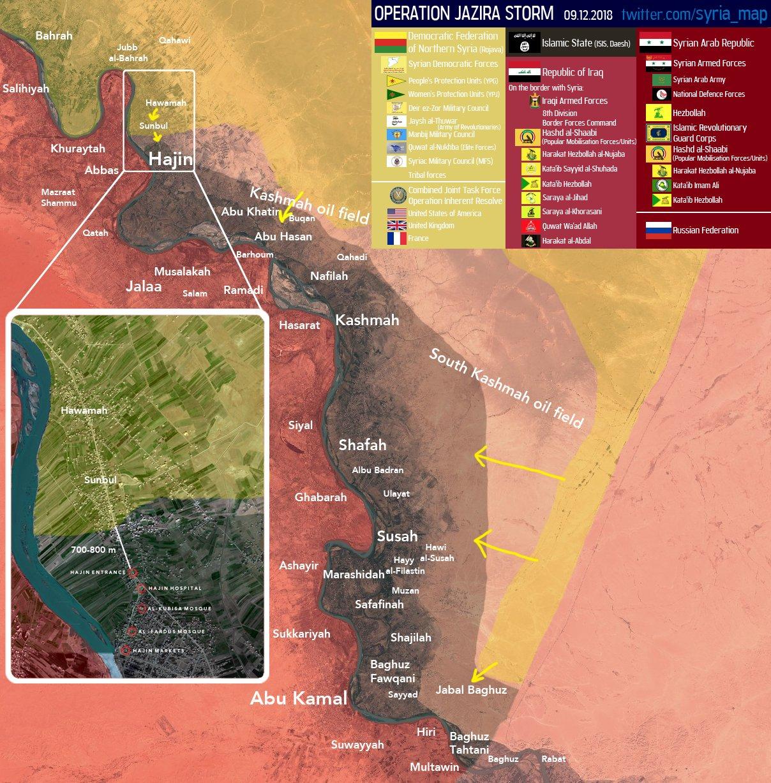 Mapa: vojenská situace v kapse Hajin – jv Sýrie