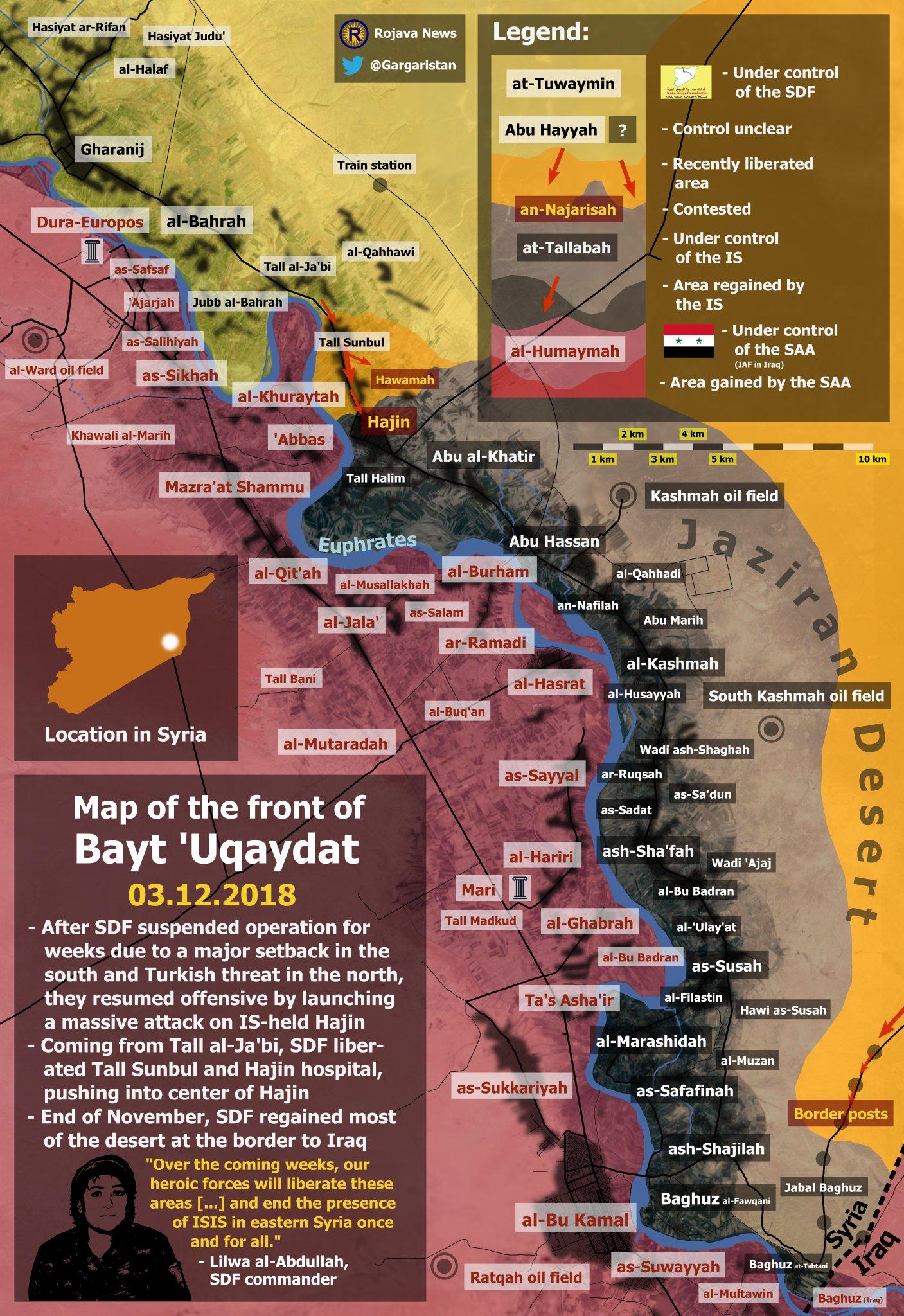Mapa situace v tzv. Hajin kapse – Východní Sýrie