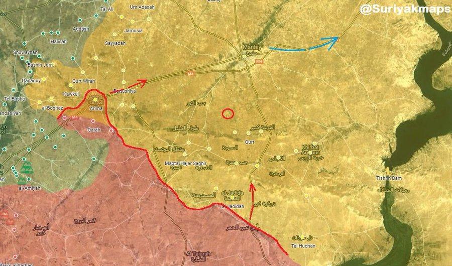 Vojenská situace v severní Sýrii v oblasti Manbij