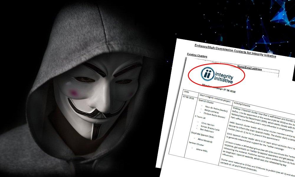 Anonymous zveřejnili třetí dávku ukradených dokumentů dezinformační organizace Integrity Initiative