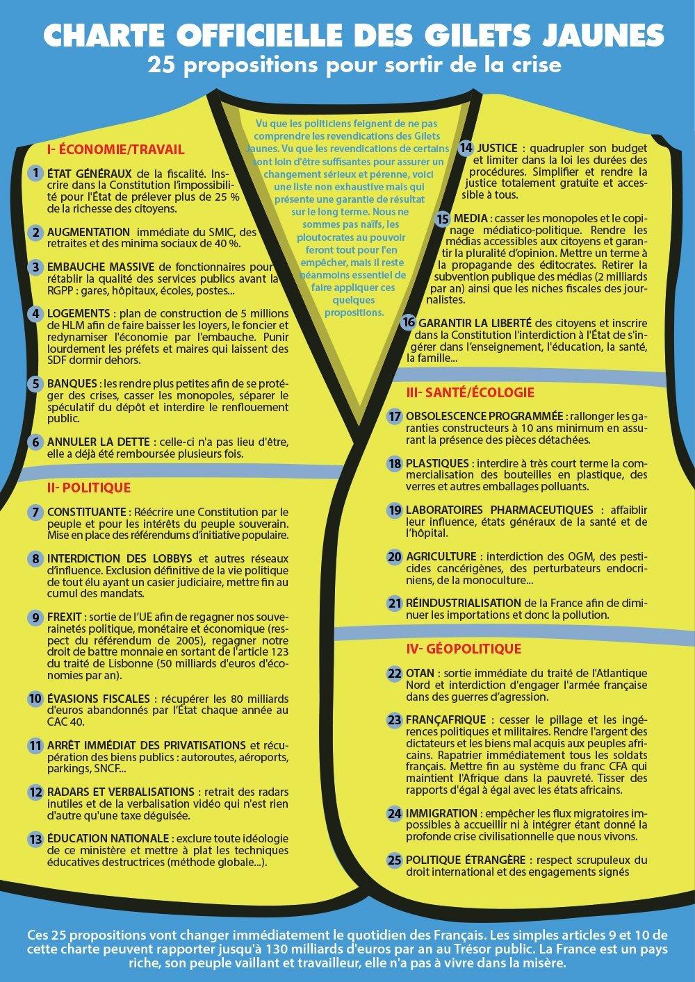 """Hnutí """"Žluté Vesty"""" vydalo politický program který požadují splnit"""