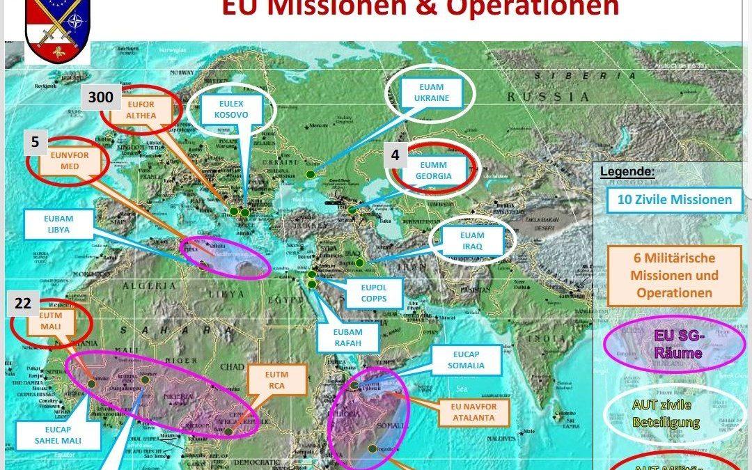 Mapka vojenských misí a operací EU v zahraničí.  https://buff.ly/2FWJiy3pic.twitter.com/i0K8TXvfA7