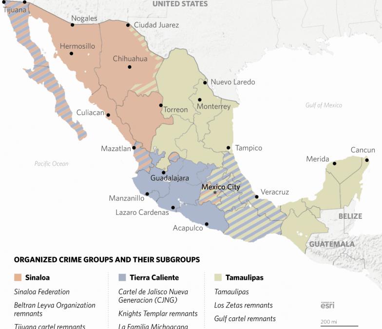 Rozdělení vlivu a kontroly mexických drogových kartelů