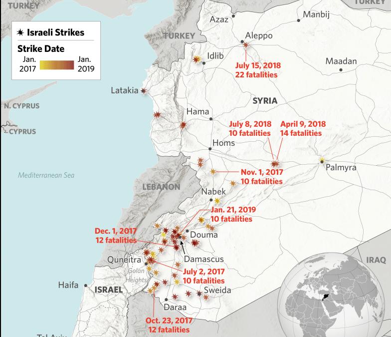 Mapa izraelských leteckých úderů na Sýrii