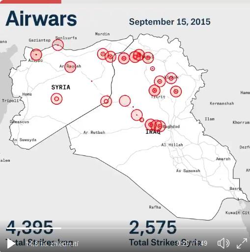 Mapa náletů US koalice proti IS v Sýrii a Iráku od Srpna 2014