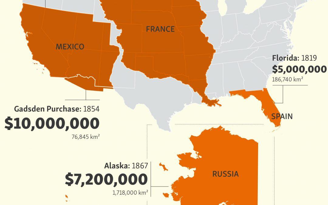 USA legálně zakoupily polovinu svého území