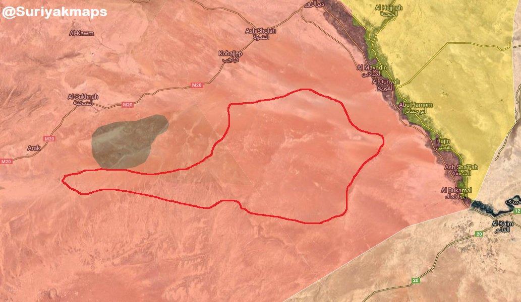 Mapa – SAA ukončila vojenskou operaci proti IS v poušti Al-Suknah