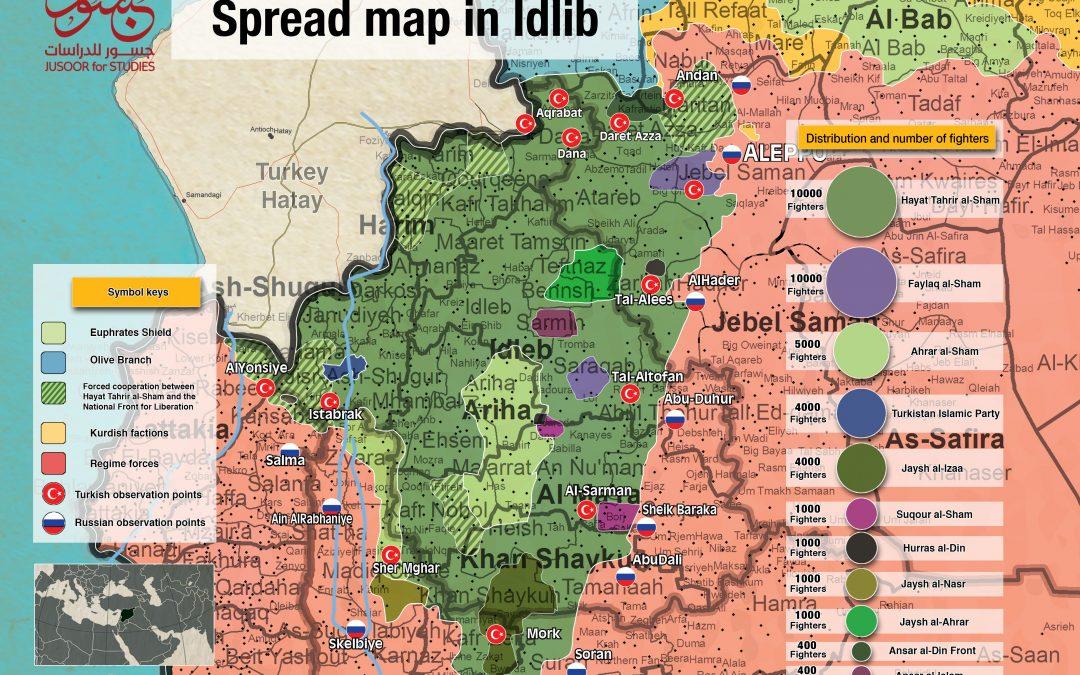 Rozložení džihádistických skupin v provincii Idlíb