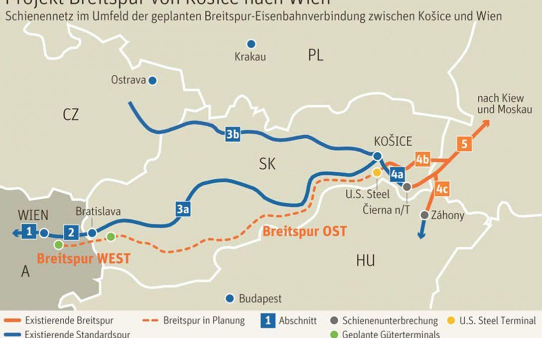 Rakousko prodlouží širokorozchodnou železnici z Košic do Vídně