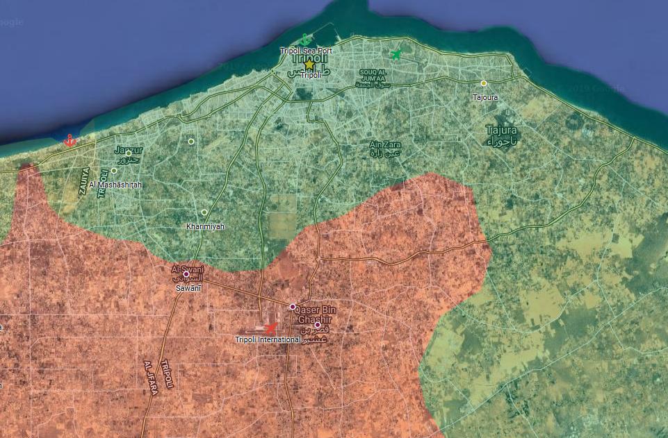 Situace v okolí libyjského města Tripolis