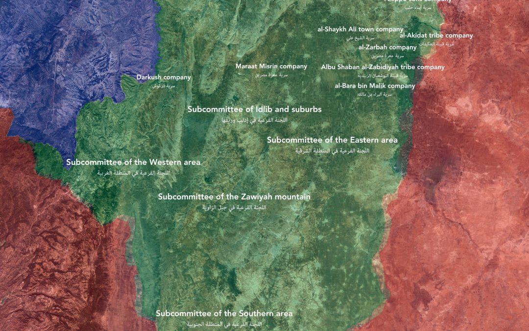 """Rozložení jednotek """"lidového odporu"""" v provincii Idlib"""