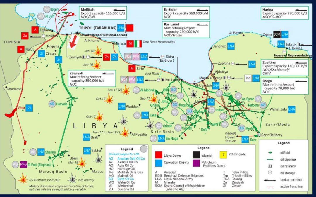 Ropná pole v Libyi a jejich kontrola