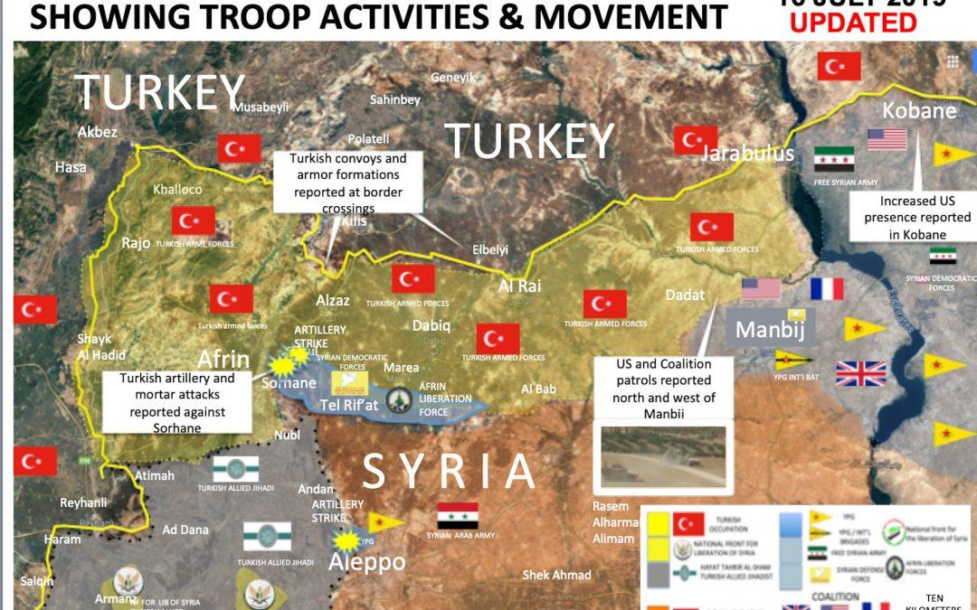 Strategická situace v sev. Sýrii v předvečer tureckého útoku.