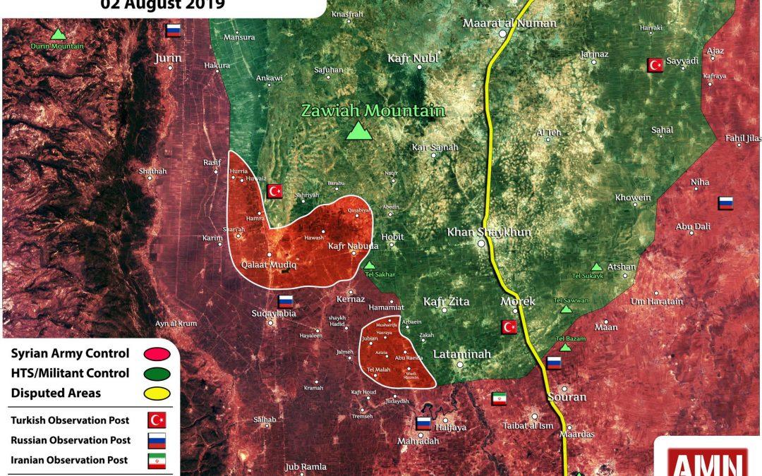 Území získaná SAA během poslední ofenzívy