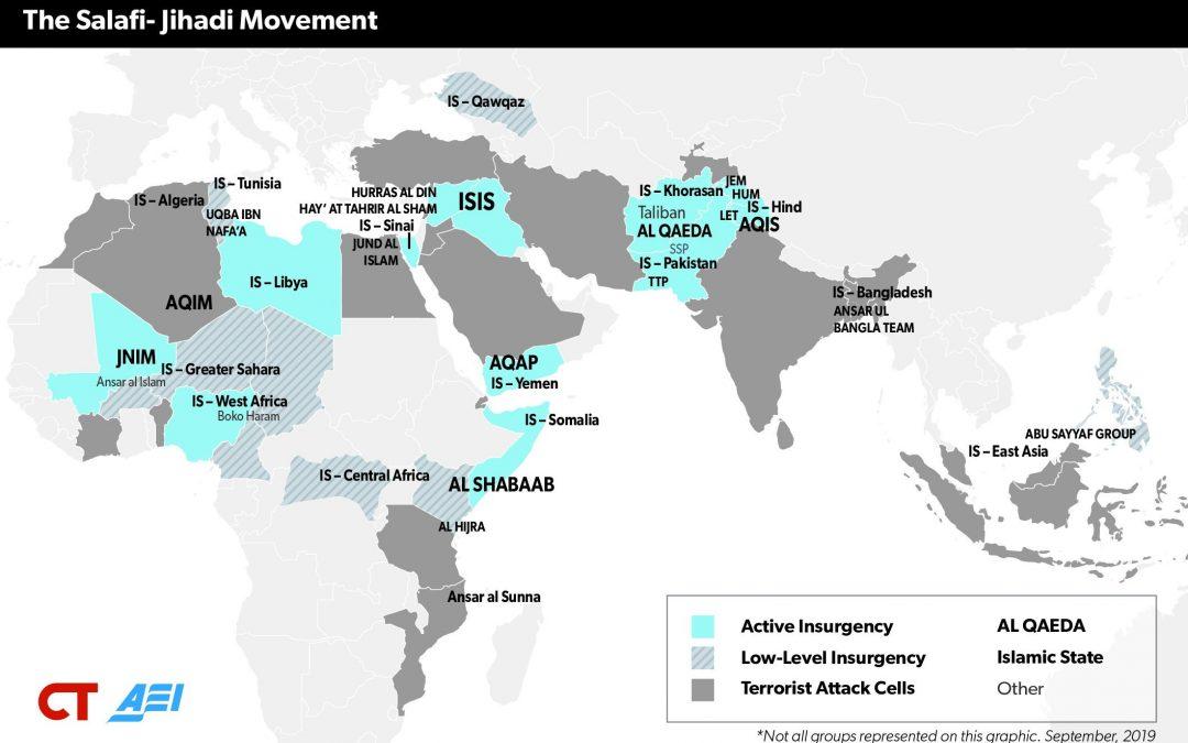 Mapa světové aktivity salafistického terorismu