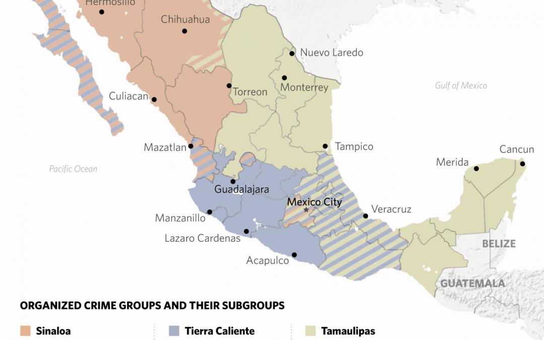 Mapa vlivu mexických drogových kartelů