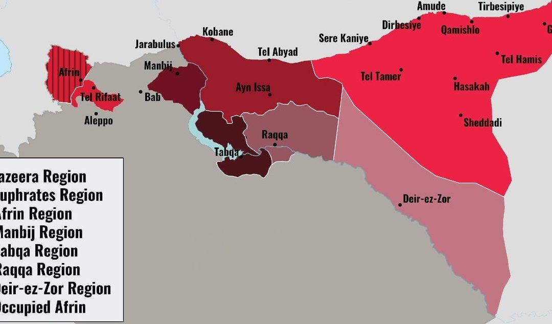 Infografika: historický vývoj oblasti severní Sýrie