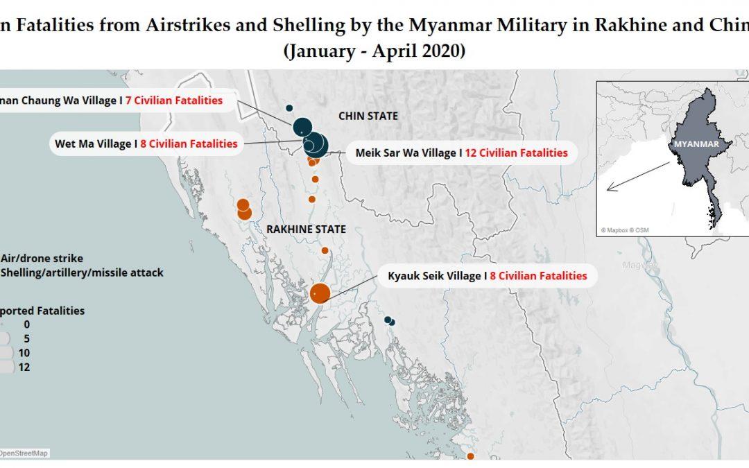 Mapka civilních ztrát v Arakanu – Myanmar