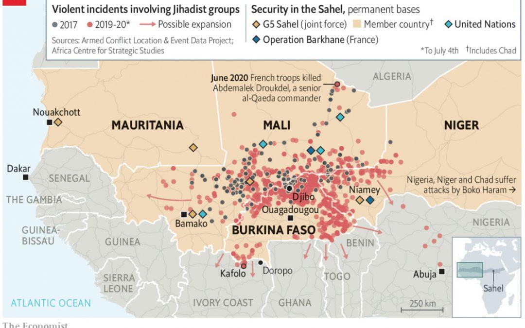 Mapa džihádistických násilností v SAHELu