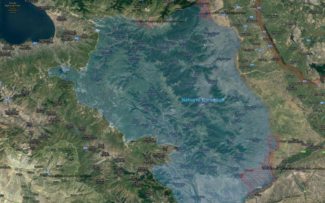 Mapa: vojenská situace v Náhorním Karabachu
