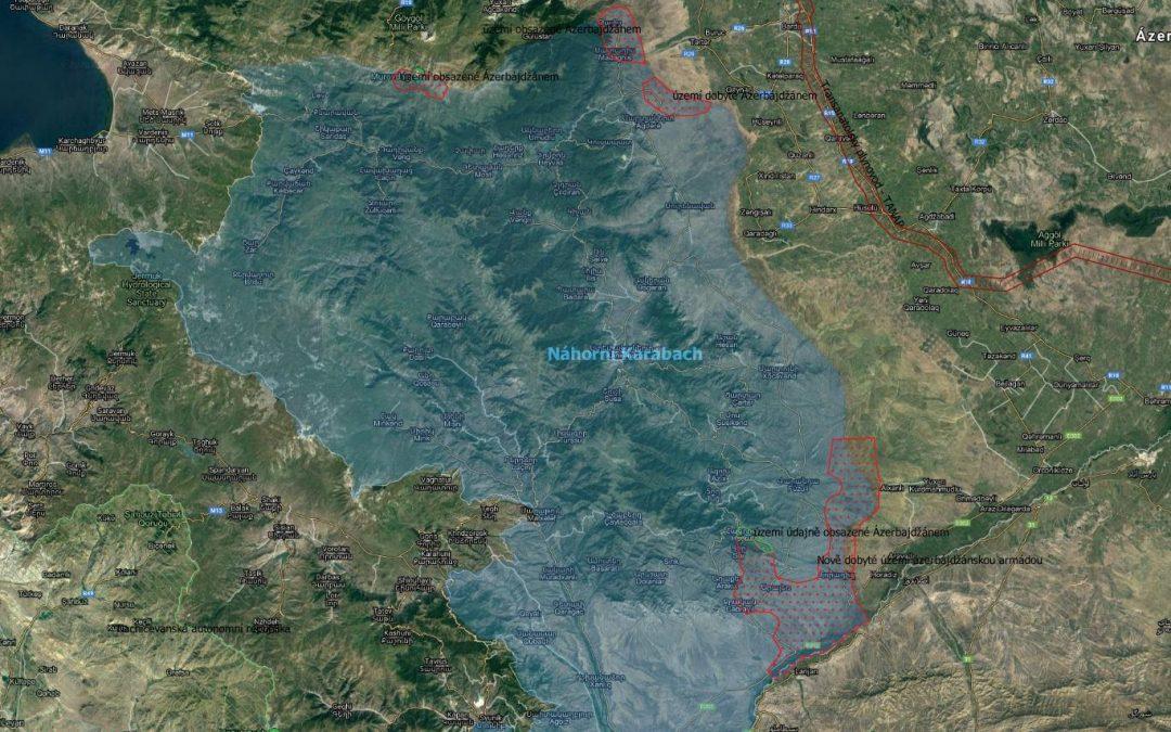 Mapa: aktuální vojenská situace v Náhorním Karabachu
