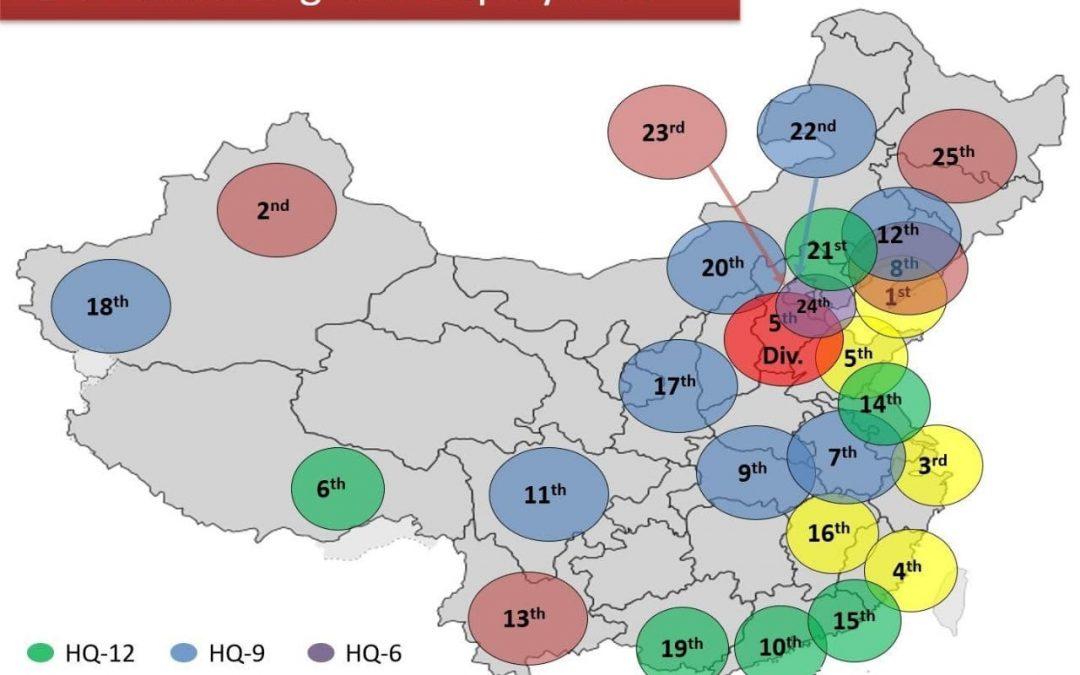 Rozmístění čínských systémů PVO