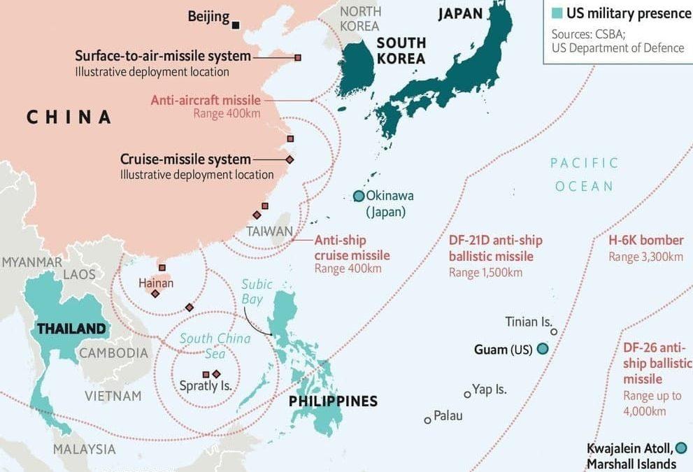 Mapa americko-čínské konfliktní zóny