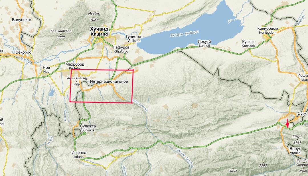 Mapka prvomájových bojů mezi Kyrgyzstánem a Tadžikistánem